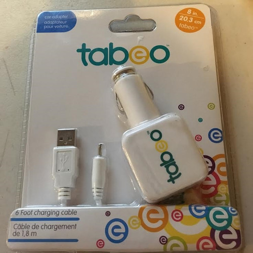 8 inch Tabeo Dual USB Car Adapter With Extra-Long 6ft Charging Cable