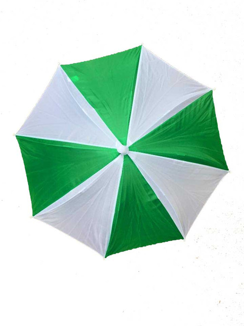 Headwear Umbrella Hat (GREEN-WHITE) (GW) Beach Sun Rain Fishing Camping Hunting