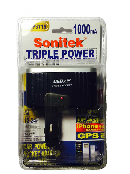 Sonitek 12v car 3-Way Cigarette Lighter Splitter w/dual USB chargers - Instantly turn your Single Cigarette Lighter Outlet (12v Power Port) turn into Three Outlets!