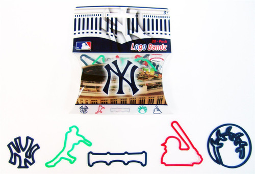 5x New York Yankees MLB Baseball Multi-Color Logo Bandz (100 bands Total, 20/pk)