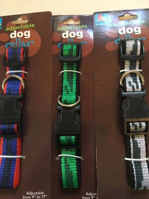 """(Choose Color) Adjustable Dog Collar Stripe Design Fits Neck Size 9' - 17"""""""