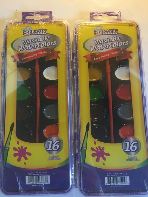 2x 16 Washable Watercolors Paint and Brush Set