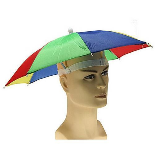 2X Multicolor Hands Free Rain & Sun Fun Umbrella Hat (RBGY)