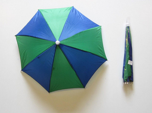 Headwear Umbrella Hat (Green-Blue) (GB)  Sun Rain Fishing Camping Hunting