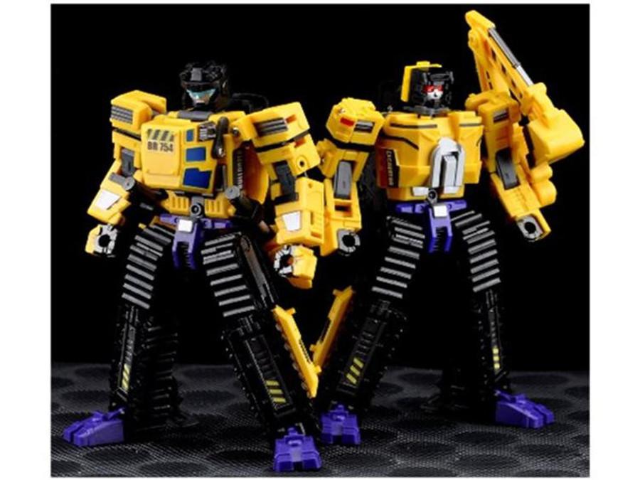 Maketoys - MTCombiner - Yellow Giant - Set of Bulldozer & Excavator