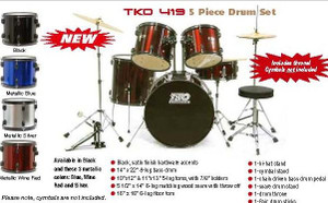 TKO 419 5-piece drum set (cymbals not included)