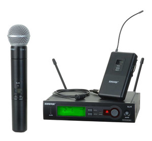 Shure	SLX124/85/SM58	 Wireless Diversity Combo Bodypack/Handheld Microphone System with SM58 Capsule and WL185 Lapel