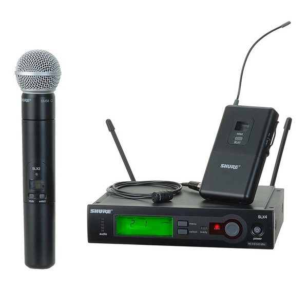 ShureSLX124/85/SM58 Wireless Diversity Combo Bodypack/Handheld Microphone System with SM58 Capsule and WL185 Lapel