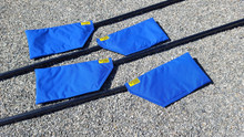 Sweep oar Blade Covers will protect your oars while travelling.  Fully padded Nylon Cordura.  Easy to use Velcro closure.  The Blade covers come in a set of (4) each.  Order (2) sets for your 8.