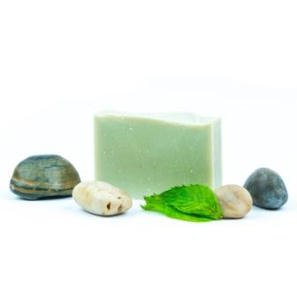 Peppermint, Green Clay & Pumice 130gm Harvest Garden hand poured soap bar