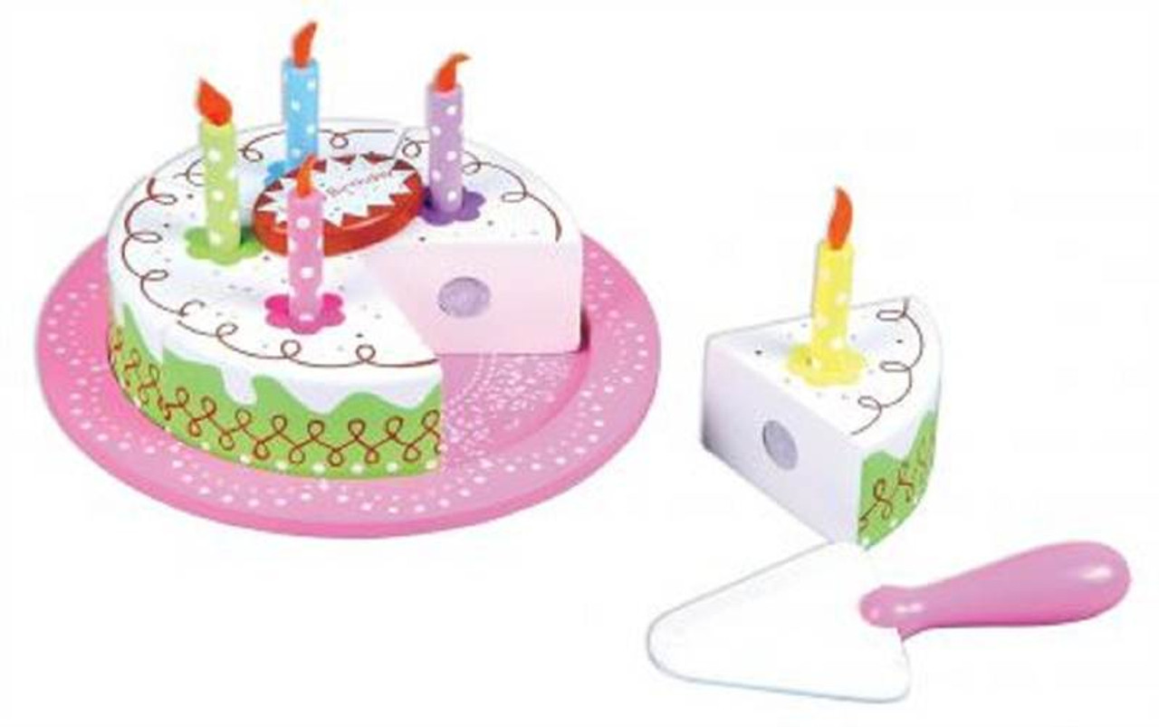 Lelin Wooden Birthday Party Cream Cake Pretend Play Role Play Set