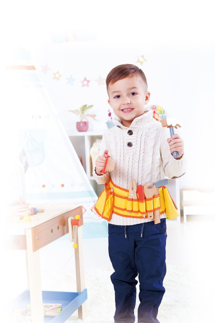 Lelin Wooden Carpenter's Tool Belt with Wooden Tools - Pretend Play Builder Tool Belt Preschool Learning Toy - 16 pieces