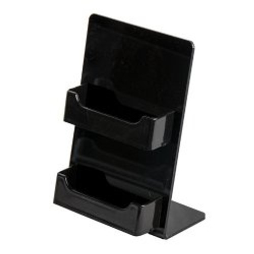 2 Pocket Black Business Card Holder Easel     DS-LHSC-2H-BLK