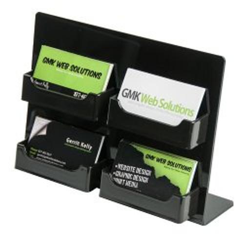4 Pocket Black Business Card Holder Easel DS-LHSC-2W2H-BLK