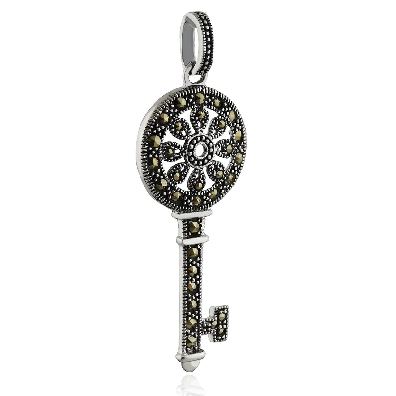 Sterling silver marcasite skeleton key pendant reo company sterling silver marcasite skeleton key pendant aloadofball Images