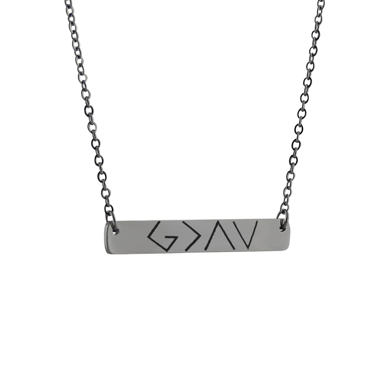 silver personalised bar necklace horizontal