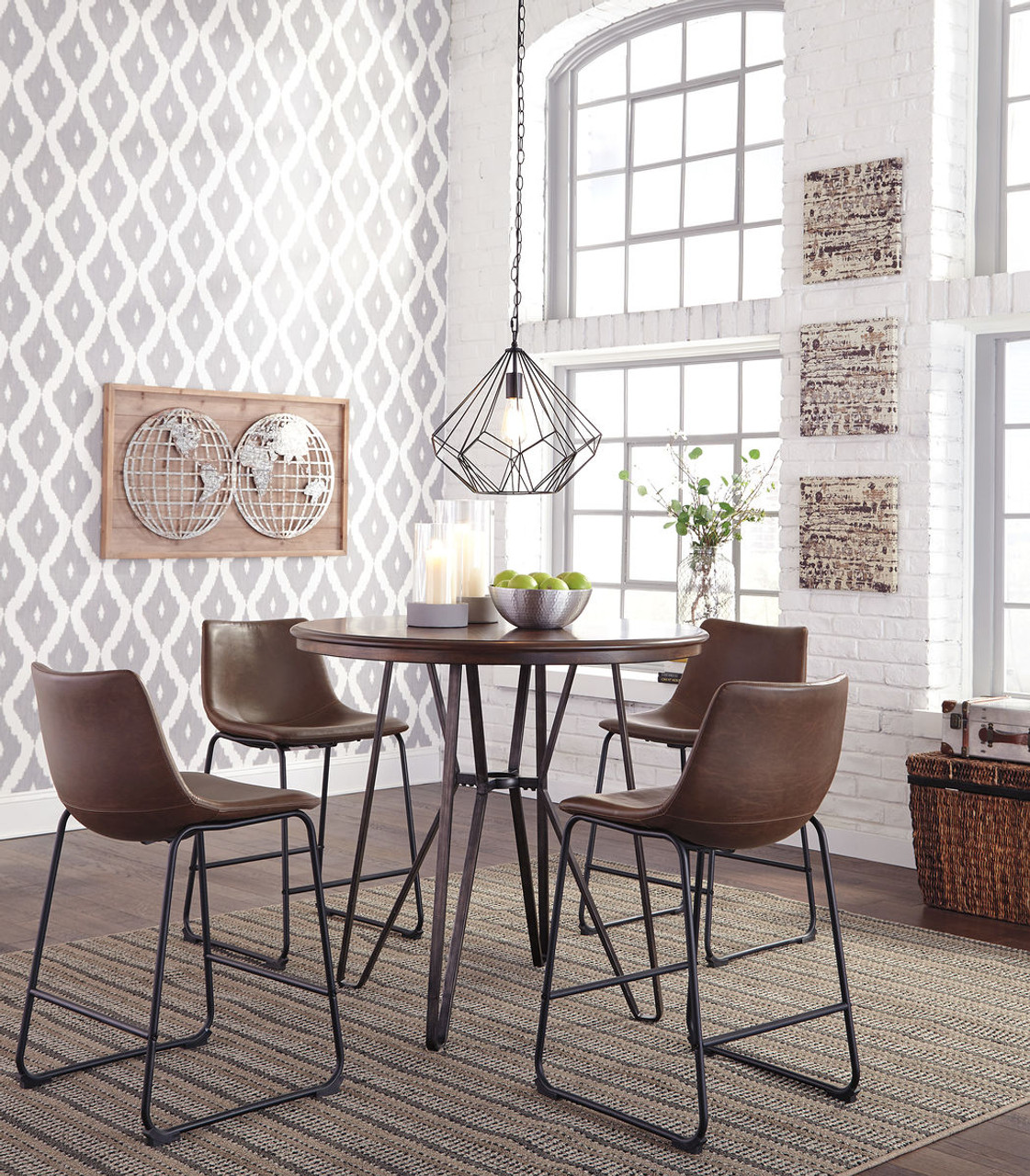 The Centiar Two-tone Brown 5 Pc. Round Counter Height Dining Set ...