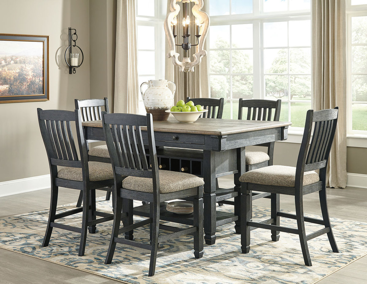 The Tyler Creek BlackGray Rectangular Dining Room Counter Table