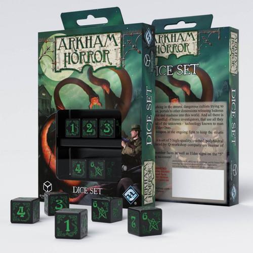 Q-Workshop - Arkham Horror - Set of 5 D6 Dice - Black/Green