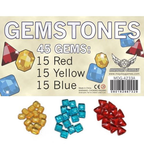 Gemstones - 3 colors x 15  (45 Count) 18mm  Plastic - MayDay Games