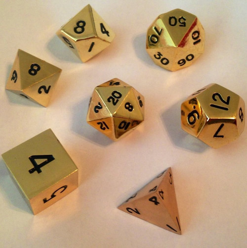 Metallic Dice Games - 16mm Polyhedral Dice  (Set of 7) - Shiny Gold