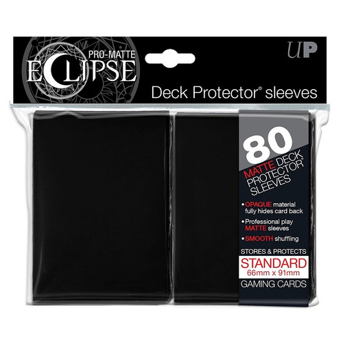 Ultra Pro ECLIPSE PRO-Matte Deck Protector - Standard Size Non-Glare Card Sleeves - 80 Count - BLACK