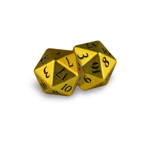 Ultra Pro -  D20 Heavy Metal Dice Set of two (2) - Bumblebee Yellow Metal Finish