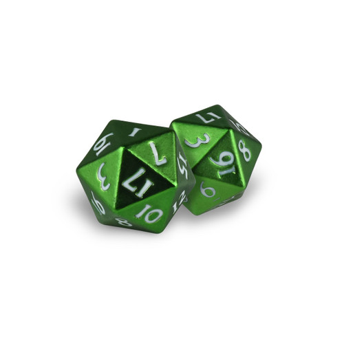 Ultra Pro -  D20 Heavy Metal Dice Set of two (2) - Emerald Frost Green Metal Finish
