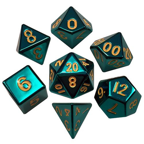 Metallic Dice Games - 16mm Polyhedral Dice  (Set of 7) - Turquoise Painted w/ gold Numbering
