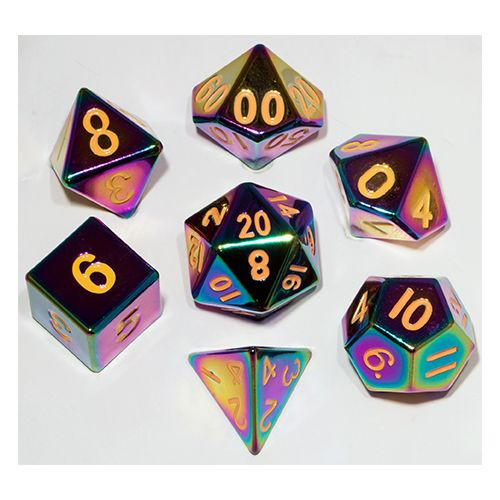 Metallic Dice Games - 16mm Polyhedral Dice  (Set of 7) - Torched Rainbow