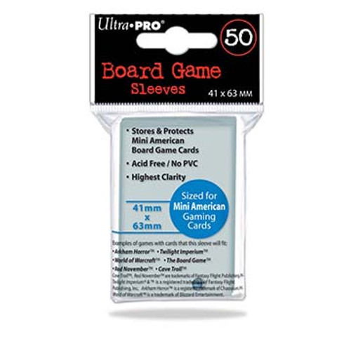 Ultra Pro Deck Protector  - MINI AMERICAN Size 44mm x 68mm Board Game Card Sleeves - 50 Count - CLEAR - TICKET TO RIDE