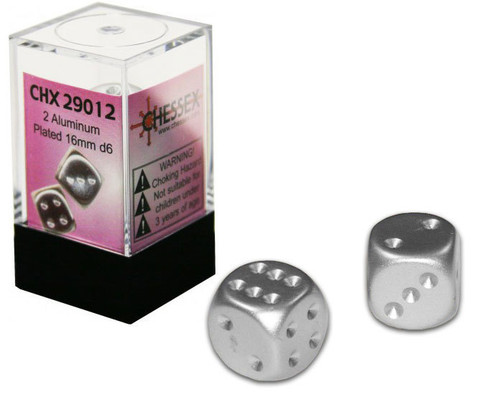 Chessex Dice - 2x  Aluminum Plated 16mm d6 - CHX29012