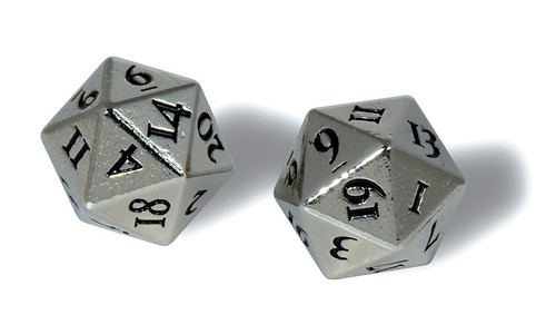 Ultra Pro -  D20 Heavy Metal Dice Set of two (2) - Chrome Metal Finish