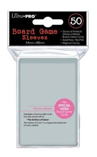 Ultra Pro Deck Protector  - SPECIAL Size 54mm x 80mm Board Game Card Sleeves - 50 Count - CLEAR - CATAN