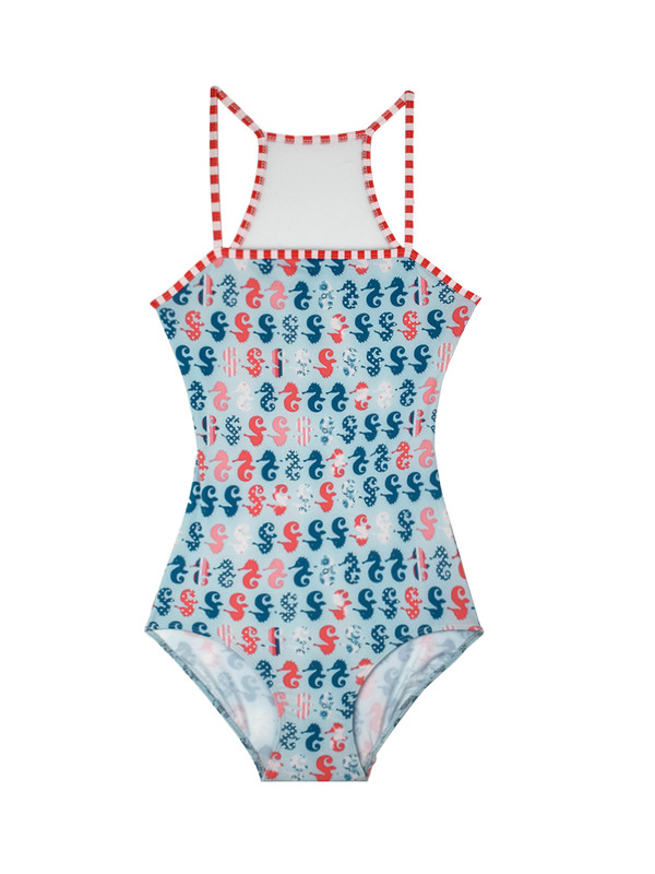Deanna in Seahorse and Baby Blue Mesh with Red Stripe