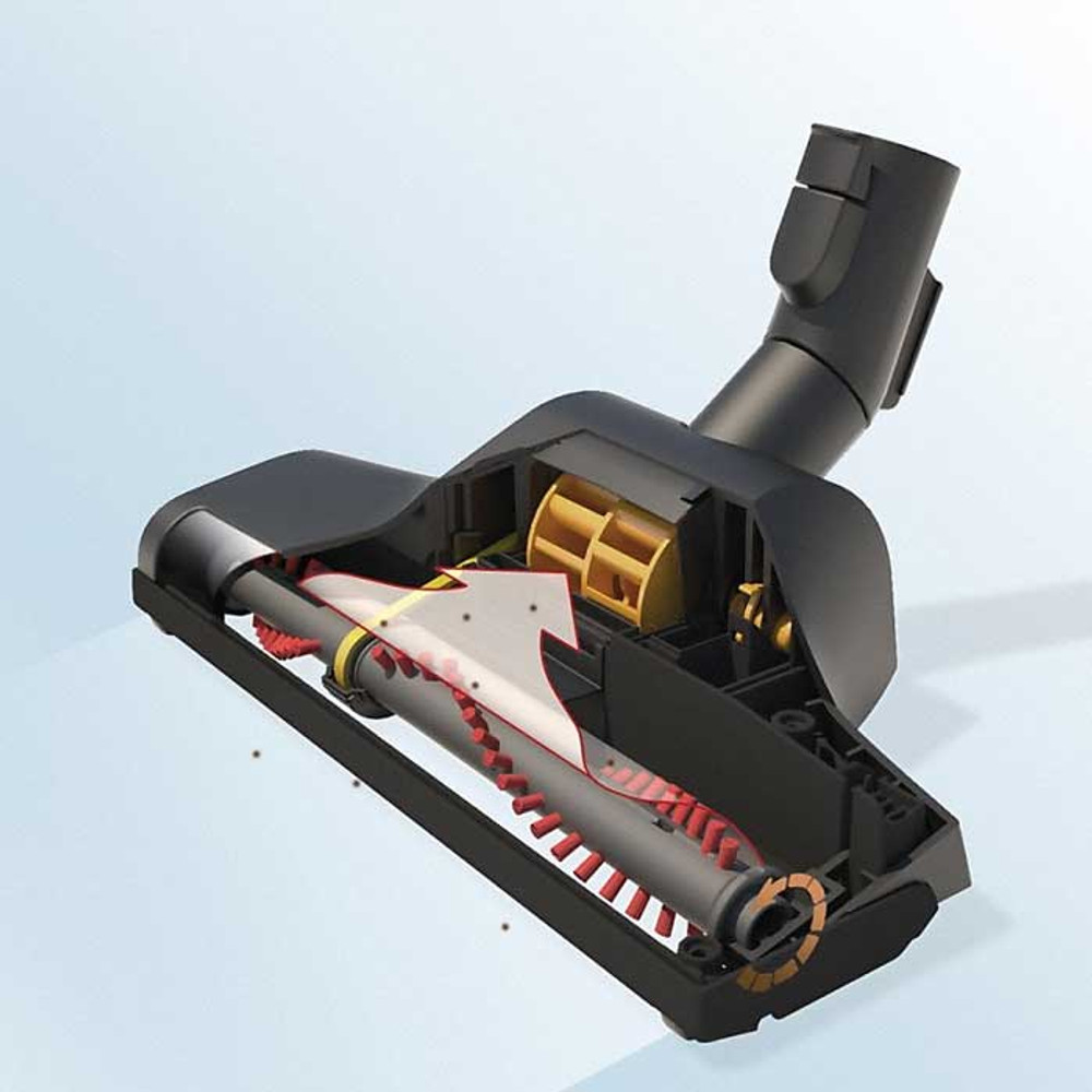 Airflow powered turbine drives rotating brush for deeper cleaning.