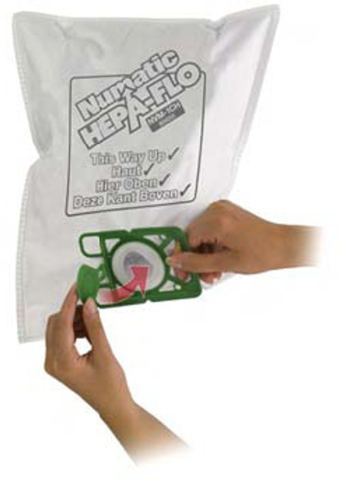 Disposable Numatic Henry HEPA cloth bags for better air flow and filtration.