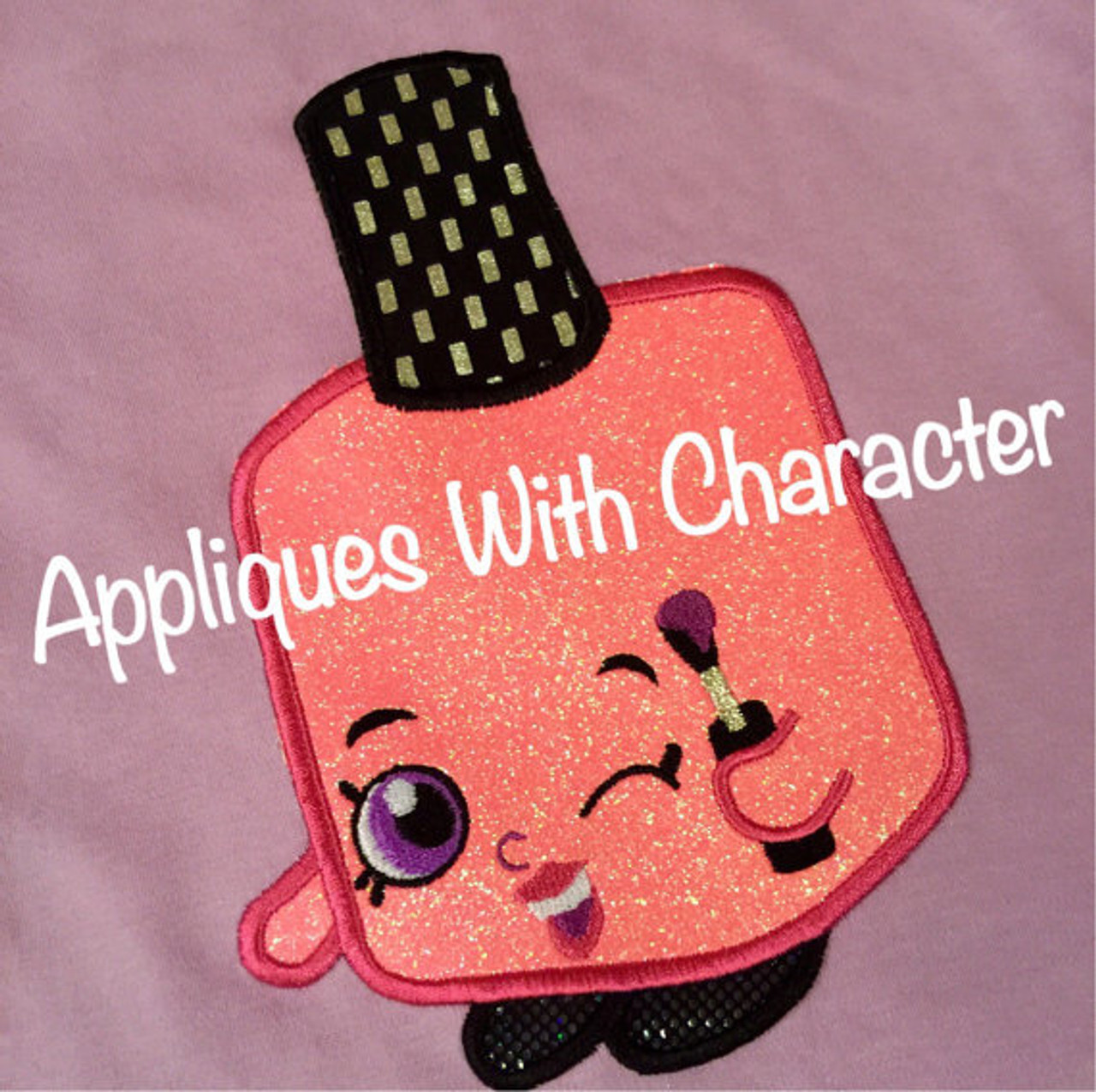Shopikins Polly Nail Polish Applique Design by Appliques With Character