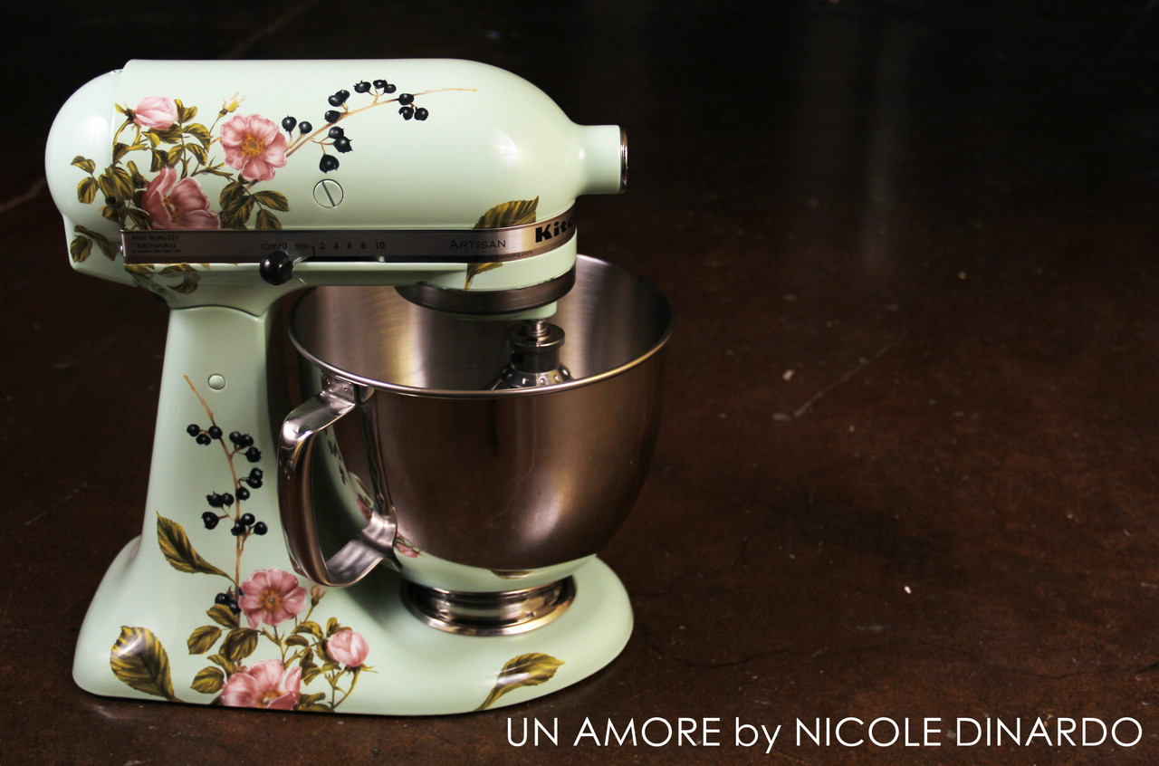 Painting Kitchen Aid Mixer. Sage Floral And Berries Custom Painted Kitchenaid Mixer Artisan Mixer Not Included