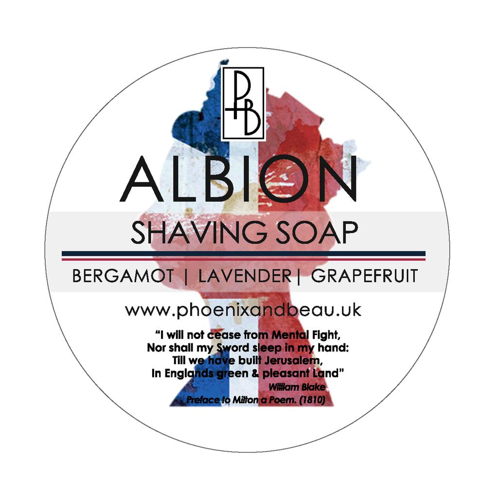 Phoenix and Beau Albion Shaving Soap  | Bergamot Lavender & Grapefruit | 4oz | Agent Shave | Traditional Wet Shaving
