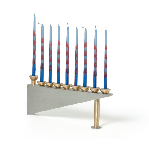 Modern Geometric Pewter Menorah