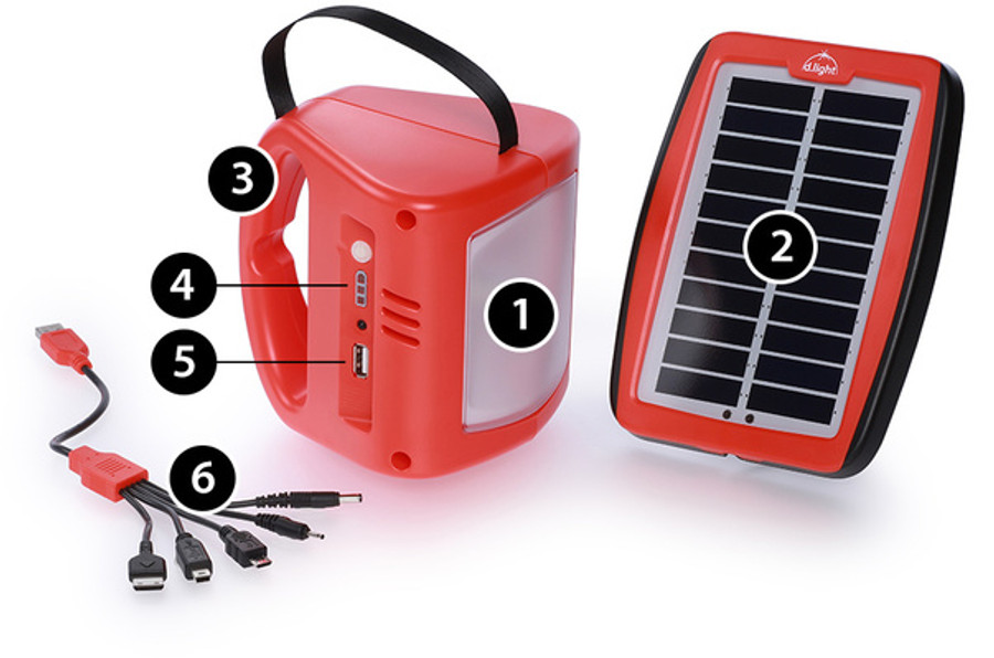 1.LED light with four settings 2.Sturdy solar panel 3.Comfortable handle 4.Battery indicator 5.USB for mobile charging 6.Mobile charging connectors