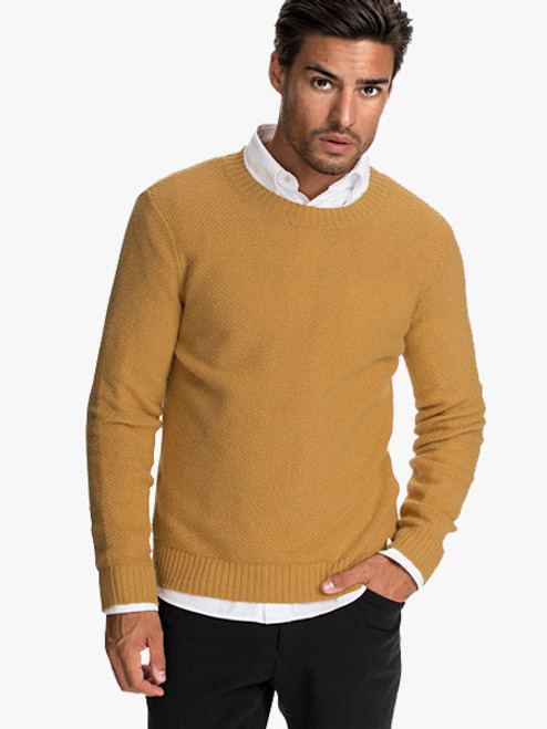 Peter England Solid Men's Henley Yellow T-Shirt