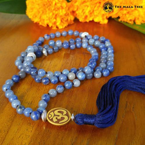 Tibetan BLUE AVENTURINE OM Mala