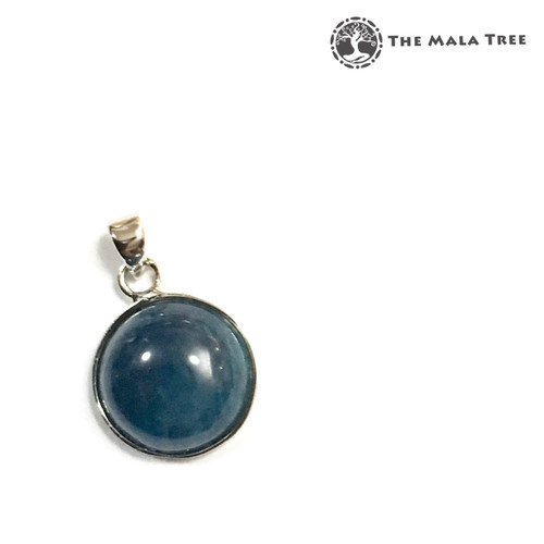 APATITE ROUND CABOCHON Lux Pendant (Set in High Quality Silver)