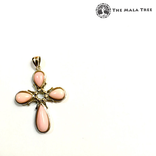 PINK OPAL CROSS Lux Pendant 2 (Set in High Quality Silver)