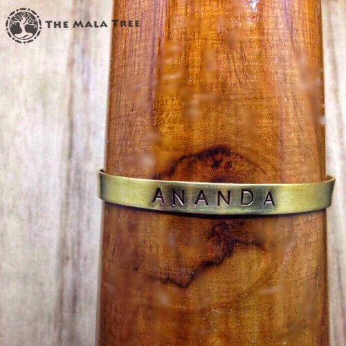 ANANDA (Extreme Happiness) Brass Sanskrit MantraCuff (100% Handmade / Adjustable)