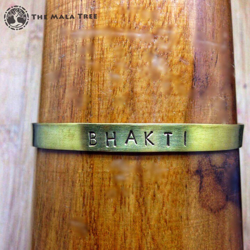 BHAKTI (Pure Love & Devotion) Brass Sanskrit MantraCuff (100% Handmade / Adjustable)