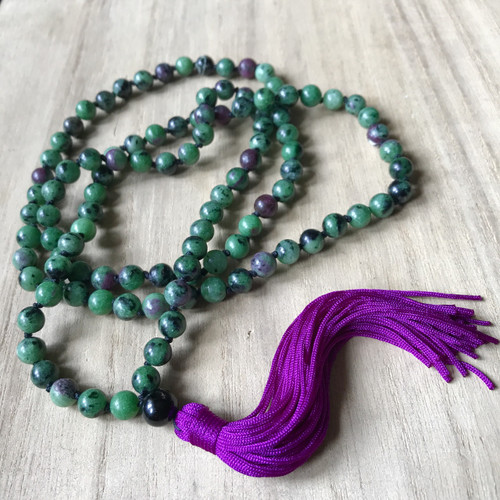 ANYOLITE / RUBY IN ZOISITE Classic 108 Mala