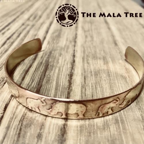 ANTI-BURGLARY RHINO AND ELEPHANT Brass Healing Bangle (Handmade)